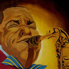 "Charlie Parker - As a jazz fan, you enjoy Charlie ""Bird"" Parker's music. His intense and dynamic playing, as well as his personality, is brilliantly captured by artist Anthony Dunphy. The acrylic painting, signed by the artist, depicts what the music legend loved best, playing his saxophone."