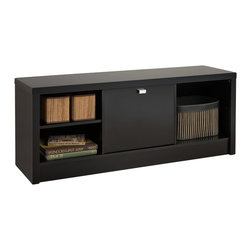 Prepac - Prepac Series 9 Designer Cubbie Bench with Door in Black - Prepac - Bedroom Benches - BUBR05011 - Make storage simple with the Black Series 9 Designer Cubbie Bench. The two side compartments will neatly store books baskets boxes and other smaller items thanks to the adjustable shelves that easily adapt the space to your liking. For those items you want out-of-sight the center compartment with door includes a metallic pull to make access a snap. Like the other members of the Series 9 Designer Collection this cubbie benchs thick bold top and sides make this piece as primed for storage as it is for style.