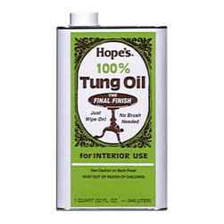 """Hope - Hope Appliance Wood Surface Cleaner 100% Tung Oil - 32 Oz - 6 Pack - The Hope Company 32TO12 1 Quart 100% Tung Oil will clean your wood to a natural, brilliant shine. Tung oil is an exotic, naturally drying oil imported from South America and China and is recognized by craftsmen to be the \ultimate\"""" drying oil for all fine woods. Unlike other finishes that sit on the woods surface"""