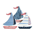 """Little Elephant Company - Michael Sail Boat Quilt Clips - Set/3 - Beautiful quilt clips that transform your treasured baby quilts and comforters into charming hanging artwork for your child's room.    Very easy to use.  ***    This listing is for a set of three (3) hand painted sailboat quilt clips. Colors used are chambray blue, navy, blue ribbon, red, country twill, and white in stripes, stitches and plaid patterns.    These quilt clips are perfect for nautical and transportation themed bedding sets.    Each sailboat measures 3.88 in. x 3.8 in.    How many quilt clips do I need?  - For a quilt that is still stiff and new, you will only need 2 quilt clips for up to 36 inches wide. Many people will do 3 quilt clips just for the look, though. For a quilt that has been washed and is pliable, 2 clips will be sufficient for up to 36 inches, but you may want 3 clips to help keep the center from sagging. For a quilt 36 to 42 inches wide, use 3 to 4 clips. For a quilt 42 to 50 inches, use 4 to 5 clips.    How do the quilt clips work?  - The only hardware is needed is a long nail, approximately 1 1/2"""" to 2 1/2"""" in length.  - Measure how far apart you would like the clips to be.  - Decide how high on the wall they will be placed and mark your first spot. Using a level, measure out and mark the second spot.  - Place your nails into the wall at a 45 degree angle. IMPORTANT: If your nail is not at a 45 degree angle, the clip may slip off the nail.  - Clip the quilt and slide the back of the clip over the nail.    What are the clips made of?  - Designs are made of layered wood. A few of our designs also have layered felt.   - Clips on the back are a sturdy plastic so as not to damage your fabric."""