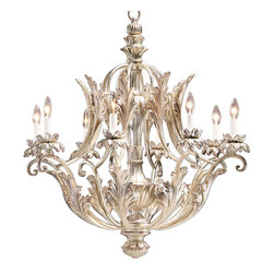 """Inviting Home - Carved Wood Chandelier - carved wood chandelier with lightly pickled silver leaf finish; 31-1/2"""" x 35""""H; hand-crafted in Italy; Eight-light carved wood chandelier with lightly pickled silver leaf finish. This carved wood chandelier is hand-crafted in Italy; UL approved UL approved - dry location; hardwired; 8x 60W max. candelabra bulbs; bulbs not included. Approx. 6 feet of chain/wire drop provided. Handcrafted in Italy."""