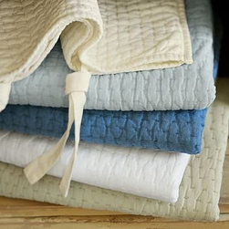 Pick-Stitch Sham, Euro, White - Employing meticulous hand quilting and tonal pick-stitching methods, each of our signature quilts takes approximately three days to craft. The fabric is prewashed for a natural, homespun look and soft hand. Linen-cotton. 100% cotton batting. Quilted sham has a tie closure; insert sold separately. Machine wash. Watch a video on {{link path='/stylehouse/videos/videos/pbq_v10_rel.html?cm_sp=Video_PIP-_-PBQUALITY-_-QUILTS_AMERICAN_ART' class='popup' width='950' height='300'}}quilting as an American art form{{/link}}. See this item featured in {{link path='pages/popups/asi_br_311.html' class='popup' width='720' height='800'}}Brides Magazine{{/link}}. Catalog / Internet Only. Imported.
