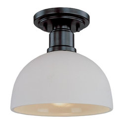 One Light Dark Bronze Matte Opal Glass Bowl Semi-Flush Mount - With large, bold bronze detailing and a warm glowing matte opal shade, this flush mount is a testament to modern simplicity.
