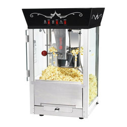 Great Northern - Black Matinee Movie Eight Ounce Antique Popcorn Machine - Matinee Movie Popper.  Popcorn scoop, Reject kernel tray, Kernel and oil scoop is included. Heavy-duty powder coated steel and stainless steel construction. Cleans up with water. Makes roughly 2-3 gallons of popcorn per batch. Warming light and kernel catcher.  8 Ounce Kettle. 640 watts, 120 volts, 60 hz, 5.3 amps. Works on standard 110 volt. 3 position control switch and 640 watts-Switches include: spot light warmer, stirrer/pot heater. Tempered glass (all glass). Works on standard 110 volt. 3 year manufacturer's warranty. Machine Dimensions: 14.4 in. L x 13.6 in. W x 22.8 in. H Commercial Grade / Large Capacity 8 Ounce Kettle / 640 Watts. We include 50 FREE bags, measuring cups and a popcorn scoop with every popper! If you are in the market for a popcorn popper, stop looking ! These commercial quality machines feature stainless steel food-zones , easy cleaning stainless steel kettles , an old-maid drawer (for unpopped kernels), tempered glass panels/doors and an 8 ounce kettle operating on 640 watts . The antique style design evokes memories of early days at the ball games, carnivals, or the movie theater. We have combined the best of both worlds -- not only are you getting today's technology, you get an authentic design with all the conveniences of the modern era. We have sold thousands of these units to churches , schools , businesses , day care centers , varsity/PTA clubs , and more. Of course, our number 1 customer is the home owner looking to add a theatrical effect to their home theater. Thicker Glass: -- 40% thicker than our competition, Premium Grade Steel --30% thicker than our competition, Richer Color -- Premium paint and enhanced colors, Safer Packing -- double wall stock and extra packing to ensure a safe delivery, Robust Design/Craftsmanship backed up by a 3 year warranty on the machine and a 30 day limited warranty on all consumable parts including kettles and/or light bulbs.
