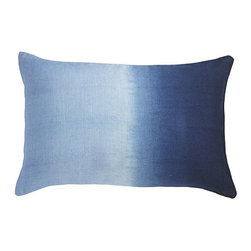 OMBRÉ PILLOW - TRUE BLUE - The Bandhani style of tie-dyeing is a centuries-old process that involves tying threads tightly around parts of the fabric to create varied and unique patterns. Our linen hand-dyed pillow covers are brilliant and eye-catching. They come in a stunning variety of colors and patterns, so you're guaranteed to find the perfect one to update your space.