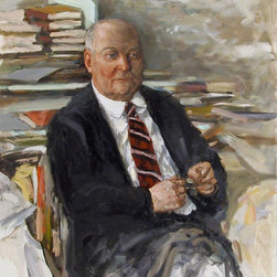 Marshall Goodman, Portrait of a Man with Books, Oil Painting - Artist:  Marshall Goodman, American (1916 - 2003)