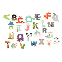 "The Lovely Wall Co - Interactive Alphabet - Wall Decal - 26 INDIVIDUAL LETTERS - approx 6"" H"