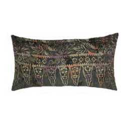 5 Surry Lane - Olive Green Floral Indonesian Batik Lumbar Pillow - Bring a dash of worldly appeal to your room with this globally inspired pillow.  It will brighten any space with its vivid pattern and exotic vibe.  Reverses to solid.  Down/feather insert included.  Hidden zipper closure.  Made in the USA.