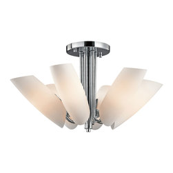 Kichler 6-Light Ceiling Light - Chrome - Six Light Ceiling Light. From the Stella collection, this lighting semi flush mount ceiling light features a modern look. The chrome finish draws attention to the subtle curves of the satin etched cased opal glass shades.