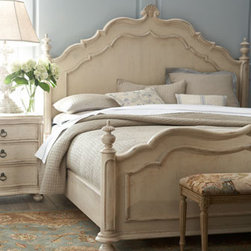 """Horchow - Caroline King Bed - Both styles of bedroom furniture are handcrafted of radiatta pine solids and pine veneers with a """"linen"""" finish, so you can mix and match to find the perfect look. Here, the """"Caroline"""" bed is pictured. All, imported. King bed is 91""""L x 85""""W x 69""""T. Q..."""