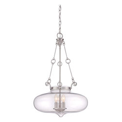 Quoizel - Alden Brushed Nickel Three-Light Pendant - - A classic hanging pendant, Alden is simple lighting done right. The clear glass bowl maximizes light output and is available in two finishes, Brushed Nickel and Western Bronze.  - Cord Length: 8 Feet  - Chain Length: 48-Inch  - Bulb is not included Quoizel - QF1781BN