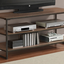None - Elements Grey Oak Media Center - Add a stylish touch to your living space with this media center from Elements. Non-mark foot glides,shelving and a lovely grey finish completes this media center.