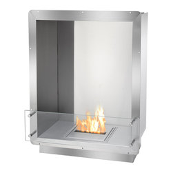 IGNIS - Ignis Single Sided Bio Ethanol Fireplace Insert FB1212-S Firebox - The FB1212-S Ethanol Firebox is the most cutting-edge in patented fireplace design by Ignis Development. Intended to be installed into a smaller area or custom cabinetry, this clean-burning fireplace insert was constructed with safety and quality at the forefront. Made of solid grade 304 polished stainless steel, this ethanol insert is manufactured with double wall construction, each measuring 3mm, and is further insulated with a patented rock wool insulation, making this ethanol firebox heat resistant and therefore one of the safest on the market today. When designing this heavy duty, zero clearance fireplace, easy installation and ease of use were among the most important factors. Using the surrounding flange, simply insert into the wall, existing hearth or custom surround. Because the bio ethanol fuel that powers this firebox burns clean, there is no need for special ventilation. The FB1212-S Ethanol Fire Box encases the lively flames and the reflective quality of stainless steel further enhances its beauty. For visual appeal and safety, this insert includes a pane of tempered glass that is positioned in front of the flame.