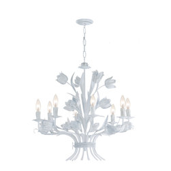 "Crystorama - Southport Chandelier - White - Southport Handpainted Wrought Iron Chandelier. Takes 8 - 60 w/c bulbs. Chain: 72"" Wire: 120"""