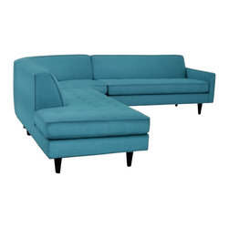 Apt2B - The Monroe 3pc Sectional From Kyle Schuneman, Ocean Blue, Chase on Right - With a Mad Men-esque silhouette, The Monroe is a perfect way to add a hip factor to any room. The clean lines and simple shape make it perfect for any small space. It packs a big punch without taking up a lot of square footage.