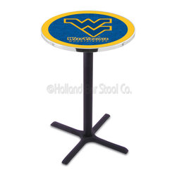 Holland Bar Stool - Holland Bar Stool L211 - Black Wrinkle West Virginia Pub Table - L211 - Black Wrinkle West Virginia Pub Table belongs to College Collection by Holland Bar Stool Made for the ultimate sports fan, impress your buddies with this knockout from Holland Bar Stool. This L211 West Virginia table with cross base provides a commercial quality piece to for your Man Cave. You can't find a higher quality logo table on the market. The plating grade steel used to build the frame ensures it will withstand the abuse of the rowdiest of friends for years to come. The structure is powder-coated black wrinkle to ensure a rich, sleek, long lasting finish. If you're finishing your bar or game room, do it right with a table from Holland Bar Stool. Pub Table (1)