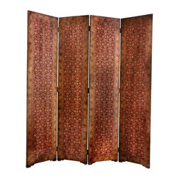 Oriental Unlimted - 4-Panel Olde-Worlde Rococo Room Divider - Excellent quality and well crafted floor screen. Sturdy and substantial. Kiln dried wood frames covered in fine quality textured faux leather. Elegant and refined European design print on both front and back of each panel. Subtle and beautiful burgundy colors. 15.75 in. W x 1 in. D x 72.5 in. H (35 lbs.)
