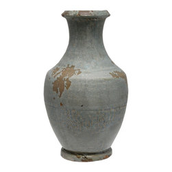 """Selectives - 15-Inch Tall Livia Ceramic Vase - Add a rich and subtle sparkle to dried and faux elements with this exquisite 15"""" tall ceramic vase.  Its distressed finish gives this vase its own distinct character."""