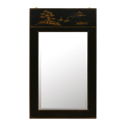 China Furniture and Arts - Chinoiserie Scenery Design Mirror - The top panel of this mirror is a painting of its own. Sleek black-lacquered wood elegantly frames the beautifully hand-painted Chinoiserie scenery artwork. Beveled mirror. Mounting hardware included.