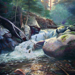 "Trisha Selgrath Fine Art - Fallen, Original Oil Painting on Wood - ""When we visited the Rocky Mountain National Park in Colorado, I was so overwhelmed by the beauty that I was constantly taking photos. The sun was setting behind the trees when we came across the falls and for yet another moment, I made the family stop while I snapped photos for what I hoped would someday become a painting. When I sit and study a photograph and lovingly depict the details, I am transported to being there. I hope when you view my work that you can imagine being there too."" - Trisha Selgrath"