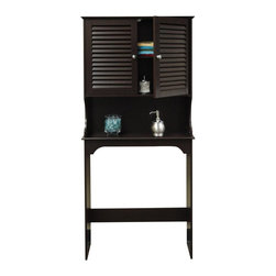 RiverRidge - Ellsworth Space Saver in Espresso - Convenient two door shutter design in a wall cabinet. Includes an open shelf for additional storage or display space and one shelf inside the cabinet. Fits over most standardized toilets. MDF Wood Composite. Espresso painted finish. Easy assembly and wall mounting for added stability. 9.25 in. L x 27.36 in. W x 63.75 in. H ( 42 lbs.)