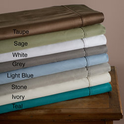 None - Cotton Blend Sateen 600 Thread Count Split King Wrinkle-resistant Sheet Set - Bring luxury to your bed with this 600-thread-count sateen sheet set that is available in five color choices. This cool-to-the-touch sheet set is crafted from cotton and polyester for long-life and features a high thread count for added softness.
