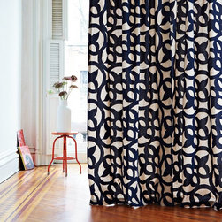 Ironwork Flocked Window Panel - I have a thing for blue: navy, pale blue-gray and everything in between. That is partly why I love these curtains so much.