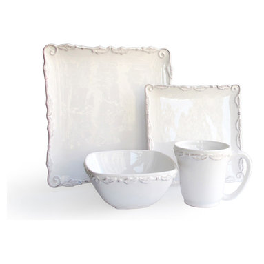 Jay Import Co. - Bianca Wave Dinner Set - Give the soaring feeling of a wave crest  every time you serve on this 16-piece white dinner set. The square plates provide a palette for laying out your cuisine, while the bowls and mugs curve around the food cozily.