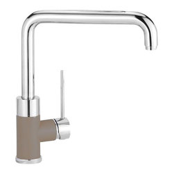 Blanco - Blanco Purus I Kitchen Faucet - Inspired by modern architecture, this faucet has a personality all its own - also with the side spray option. With its solid pillar base, discreet side lever, curved angles and color-coded supply lines, this style adds a touch of elegance.