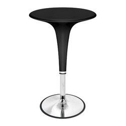 """LumiSource - Gelato Bar Table - Made of chrome and plastic, these retro bar tables are easily adjustable with hydraulic height modifiers. The Gelato Bar Tables are available in three colors, so mix and match with the Scoop Bar Stools to create a trendy and inviting bar area! Features: -Made of chrome and plastic. -Sleek retro design. -Adjustable height hydraulics. -Convenient footrests. -Dimensions: 40"""" H x 24"""" D."""