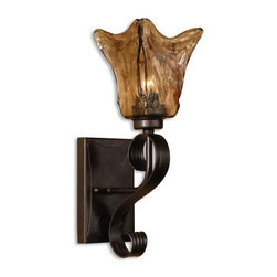 Uttermost - Uttermost Vetraio Wall Sconce in Bronze - Heavy hand made glass is held in classic European iron works giving these pieces a contemporary quality, with strong traditional appeal as well.