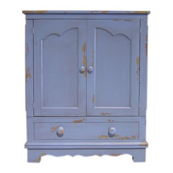 British Traditions - 2 Door Country French Entertainment Center (French Gray) - Finish: French Gray. Each finish is hand painted and actual finish color may differ from those show for this product. Small French entertainment center. 1 Large cabinet with adjustable shelf. 1 Drawer. Minimal assembly required. Cabinet size: 29.5 in. W x 19.75 in. D x 27 in. H. 35 in. W x 21 in. D x 43 in. H (96 lbs.)This piece has transformed our Exeter entertainment center into a very French-inspired piece of furniture. It has French details in the doors and bottom molding.