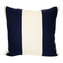 Acapillow - Pieced Stripe Pillow - Accented in navy, this appealing pillow anchors your space with a touch of nautical charm. Nestled into a couch corner or as the centerpiece of a well-made bed, it's elegant and effortlessly cool.