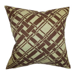 """The Pillow Collection - Rygge Bamboo Pillow Sage 20"""" x 20"""" - Redesign your interiors with a lovely twist by adding this bamboo print throw pillow. The geometric pattern featured in this square pillow adds a contemporary twist. This accent pillow comes with a neutral color palette with shades of brown prints on a flesh background. Toss this 20"""" pillow anywhere inside your home from your living room to your bedroom. Made from 100% high-quality cotton fabric. Hidden zipper closure for easy cover removal.  Knife edge finish on all four sides.  Reversible pillow with the same fabric on the back side.  Spot cleaning suggested."""