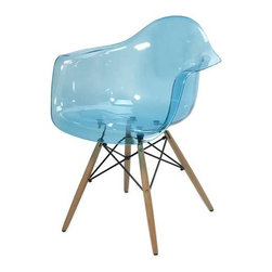 Declan Teal Blue Transparent Chair with Wood Leg - Featuring a modern and funky design concept, this trend-setting stylish chair incorporates a cutting edge blue transparent acrylic design with wood legs that transitions well in a variety of decor.