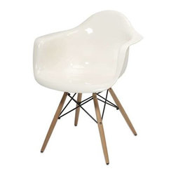 Arturo White Acrylic Chair with Wood Leg - Featuring a modern and funky design concept, this trend-setting stylish chair incorporates a cutting edge opaque white acrylic design with wood legs that transitions well in a variety of decor.
