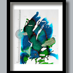 Topos modern art giclee print map collage home decor - Topos