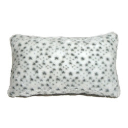 Pillow Decor - Pillow Decor - Snow Leopard Faux Fur 12 x 20 Throw Pillow - There is no shortage of spots on this wonderfully soft snow leopard faux fur throw pillow. The texture of this gorgeous artificial fur pillow is enhanced by a slight variation in fur length between the white background fur and the fur of the gray spots. The effect is sensational and will have you purring in cozy comfort.