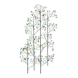 UMA - Glistening Trees Metal Art - Delicate trees are dotted with glistening leaves that add color to this subtle and elegant tree wall art.