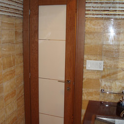 Italian interior doors in solid TEAK OAK - Solid wood interior door in modern style with colored tempered glass.  Made in Italy.