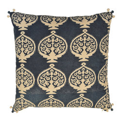 aalamwaar textiles - Bukhara Indigo Pillow - This print is inspired by Viji's trip to Turkey.