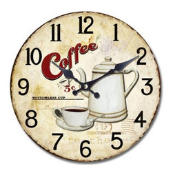 YOSEMITE HOME DECOR - 13.5 in. Circular Wooden Wall Clock with bottomless coffee print - Give a nod to classic diner style with this retro wooden wall clock. It's perfect above your kitchen table to check if there's time for one more cup.