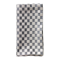 Silver Grand Prix Napkin - Ready, set, go: The Silver Grand Prix Napkin is the perfect finish to your glamorous yet fun tablescape. The rich silver hue adds distinctive refinement while the checkered pattern bestows a whisper of whimsy. A welcome addition to a table setting with a bold or subdued color palette.