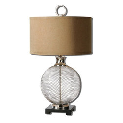 Uttermost - Uttermost 26589-1  Catalan Metal Accent Lamp - Heavy metal cage finished in a plated polished nickel accented with a faux black marble foot. the round shade is a bronze linen fabric.