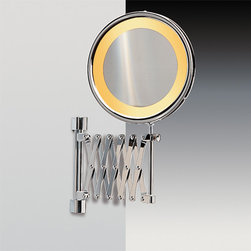 Windisch - Wall Mounted Lighted 3x Brass Magnifying Mirror With Chrome and Gold Finish - One face magnifying mirror. Made out of brass with a chrome and gold finish. High-end makeup mirror, made in very high quality brass. Magnified mirror finished with chrome and gold. Manufactured in and imported from Spain by Windisch. Part of the Windisch Incandescent Mirrors collection.