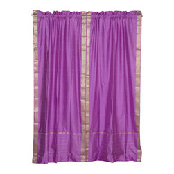 Indian Selections - Pair of Lavender Rod Pocket Sheer Sari Curtains, 80 X 96 In. - Size of each curtain: 80 Inches wide X 96 Inches drop. Sizing Note: The curtain has a seam in the middle to allow for the wider length