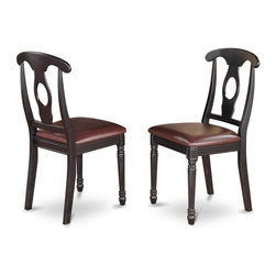 East West Furniture - Chair With Napoleon Back Style - Set of 2 - Set of 2. Faux leather set for comfortable and relaxed impression. Made in Vietnam. Assembly required. Seat height: 18 in.. Overall: 17.5 in. W x 16.5 in. D x 38 in. H (40 lbs.)
