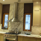 Kitchens - Calacatta marble kitchen, material from Levantina Chicago, white marble, natural stone