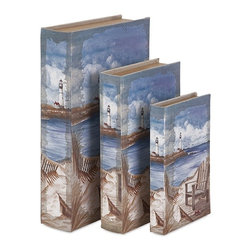 iMax - Seaside Book Boxes, Set of 3 - By the sea, by the glorious sea: Linen covers wrap a trio of book boxes in varying sizes with a nautical scene.