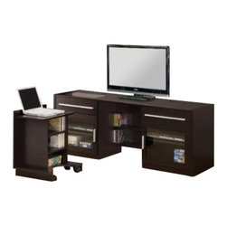 """Coaster - Connect It TV Console (Cappuccino) By Coaster - DESCRIPTION: This versatile entertainment center includes a slide out laptop caddy. Just slide the laptop caddy into place when not in use and charge your laptop, also features additional storage for all your digital components. Finished in cappuccino. Dimensions: TV CONSOLE: 17.75"""" Width x 59.75"""" Depth x 23.50"""" Height"""
